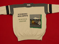 *ICEBERG CASUAL VINTAGE  COMIC PULLOVER*HOLIDAYS WINTER CRUISE*BEIGE* L*TIP TOP