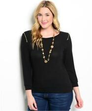 NEW..Stylish Plus Size Black Long Sleeve Top with Shoulder Zippers.Sz14/1XL