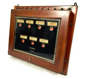Antique Wooden & Glazed  Butlers / Servants 7 Room Calling Bell Box Board c1900