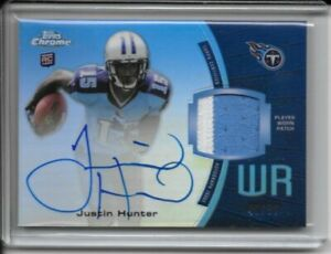 2013 Topps Chrome Rookie Auto Patch Jersey Relic RC Justin Hunter /50