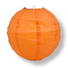 "16"" Persimmon Orange Round Paper Lantern, Crisscross Ribbing, Hanging Decoration"