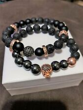 Men's Rose Gold Hematite Onyx & Lava Rock with Rose Gold CZ Skull Gunmetal CZ &