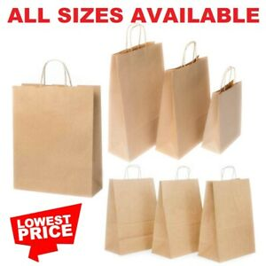 Brown Paper Bags With Handles Large Small 100 50 10 Party Gift Sweet Carrier Sos