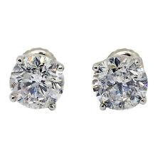 3.33 Carati Diamanti A Lobo Orecchini D I1 14k Oro Bianco A Vite Posteriore