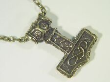 """Butw bronze patina Thor's hammer pewter pendant & 20"""" chain viking Norse 9094D"""