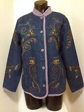 DENIM & CO Womens Jacket Coat Size M Blue Denim Paisley Embroidered  5 Button