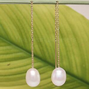 14k Yellow Gold Threader Chain; Freshwater Cultured Pearl Drop Earrings