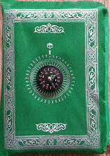TRAVEL POCKET PRAYER MAT RUG WITH QIBLA KAABA COMPASS IN POUCH