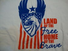 "Vintage ""Land Of The Free Home Of The Brave"" 4th Of July Eagle White T Shirt M"