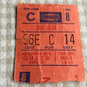 Queen ticket Madison Square Gardens 01/12/77