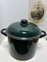 Megaware GREEN Ceramic Enamel Covered Pot, 9 Qt-8L Made in Spain, Good Condition