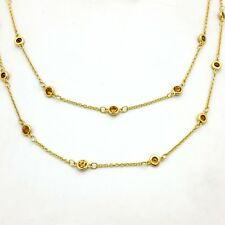 PJC Sterling Silver Gold Plated Citrine By The Yard 38' In Chain Link Necklace