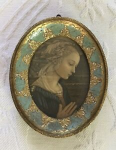 "Lovely Miniature Italian Florentine Oval Frame Madonna F. Lippi 4"" X 3"""