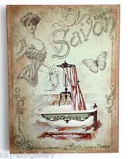 Wall Picture Plaque , Vintage Retro style Handmade  / Bathroom  /  Decoupage