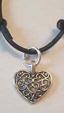 FILIGREE HEART ON BLACK LEATHER CORD SLIDING KNOT ADJUSTABLE CHOKER NECKLACE