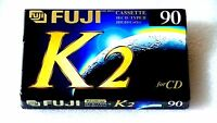 FUJI K2 HIGH BIAS blank audio cassette tape, brand new sealed