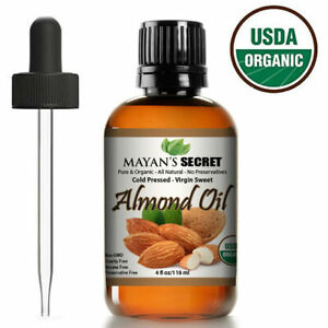 SWEET ALMOND OIL USDA CERTIFIED ORGANIC CARRIER COLD PRESSED UNREFINED 4OZ