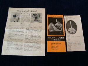 Vtg 1930 Lote 3pc Dennison Crepe Papel Contest&howtomake Flor Lirio Narcisos A7l