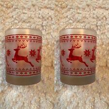 """🎄Culver Frosted Bar Glasses ❄️Christmas Reindeer 🌟Set Of 2🌟 4 1/8"""""""