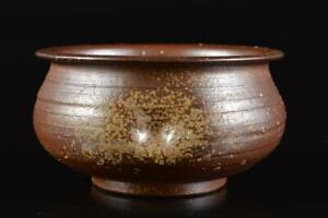 L683: Japanese Bizen-ware Youhen pattern WASTE-WATER POT Kensui Tea Ceremony