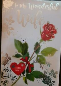 """To My Wonderful Wife on Your Birthday Card. Large Card 9"""" x 6""""."""