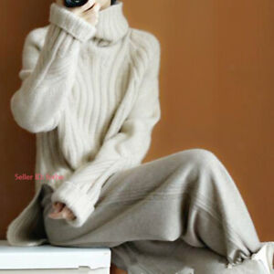 Womens Wool Cashmere Knitted Sweater Warm Stretch Turtle Roll Neck Jumper Tops