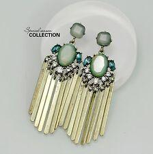 Orecchini CLIP ON D'oro Blu Verde Ovale Nappa Metallo Pendente Vintage Etnico J2