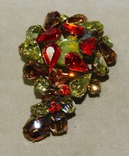 Vintage Beautiful Gold Tone Orange Yellow Brown Pear Rhinestone Brooch 12K 89