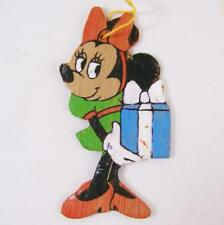 Vintage Disney Minnie Mouse Ornament Wood Hand Painted Wooden Cut Out