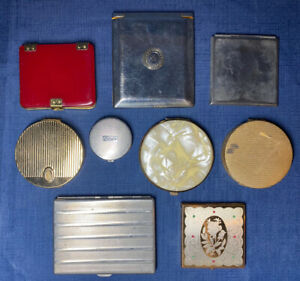 Vintage Lot 9 Compacts Mirror Powder Cigarette Case Wadsworth Bakelite Celluloid