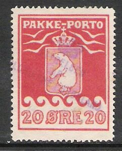 GREENLAND 1916 ARMS / PARCEL POST 20 ORE RED P11.5 (FU) (REF:H 1217)