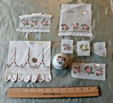 7 Vintage Cotton Swiss Loom Embroidery Samples~Roses~Dolls