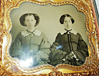 > EXCEPTIONAL Antique AMBROTYPE Wealthy Sisters CIVIL WAR Era Hair Fashion PHOTO