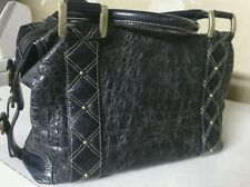 Shooz gray/ blue genuine alligator skin leather w/ gold hardware doctors bag