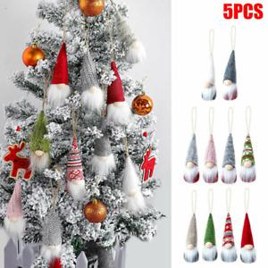 5X Christmas Tree Hanging Ornaments Faceless Gnome Santa Xmas Tree Decor