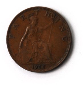 1928 1F Great Britain Farthing Bronze Coin