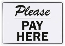 """SmartSign Plastic Sign, Legend """"Please Pay Here"""", 10"""" high x 14"""" wide, Black on"""