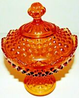 "VTG Amber Hobnail Lidded/Covered Pedestal Candy Dish (Indiana Glass) 8"" Tall GC"