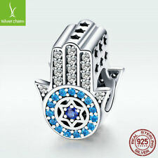 Lucky Fatima S925 Sterling Silver Charm Bead With Blue CZ For Bracelet Necklace