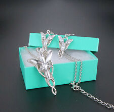 Lord of the Rings Arwen Evenstar Sliver Plated Necklace Earring Jewelry Set