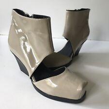 CHEAP Monday Scarpe alla Caviglia in Vernice Tacco a Blocco Cerniera Colore Nude UK 3 EURO 36