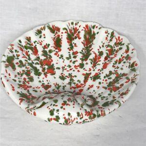 VTG MOD Splatter Ceramic Shell Soap dish Bowl Handmade 60s 70s White Red Green