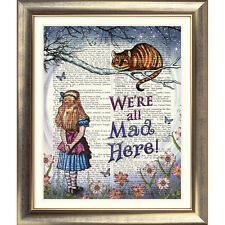 DICTIONARY ART PRINT BOOK PAGE Vintage Alice in Wonderland Cheshire Cat Picture