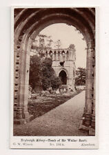 Vintage CDV Dryburgh Abbey Tomb of Sir Walter Scott, Scottish Borders