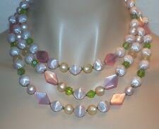 Vintage 60'S White & Pink Moonglow Lucite & Green Glass Bead Necklace N345