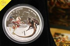 Tuvalu Dragons of Legend st. george and the Dragon 1 onza Oz plata pp 2012