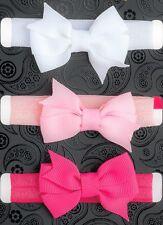 3x ELASTICO BABY Copricapo Fascia per capelli bimba bambina Fiocco Fascia per i bambini appena nati Bande