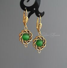 Green round earrings Gold plated Leverback Framed handmade Cats eye jewelry gift