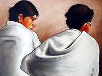 """perfect 36x24 oil painting handpainted on canvas """"two women"""" NO1655"""