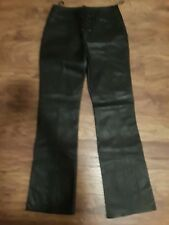 Women's Boot Cut, Black Leather Pants, Size 8, Wilson's Leathers, Lace Up Front,